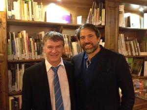 Philippe FOLLIOT aux côtés de Serge SIMON à la Bibliotèca à Saint-Pierre-de-Trivisy