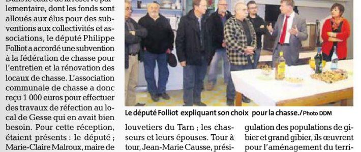 Philippe FOLLIOT inaugure le relais de chasse de Fréjairolles