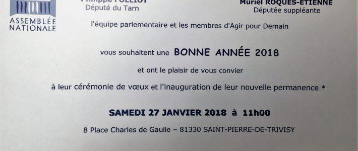 Philippe FOLLIOT et Muriel ROQUES ETIENNE vous souhaitent une bonne année 2018
