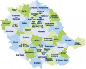 Les 46 cantons du Tarn