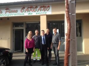 Philippe FOLLIOT en compagnie des salariés de l'entreprise CARCANO