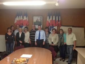 Philippe FOLLIOT et Gisèle DEDIEU avec les élus de Villefranche-d'Albi