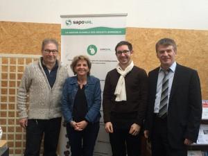 Philippe en visite chez SAPOVAL aux côtés de Monsieur Erwan TROTOUX, Directeur et fondateur, du Président de la Technopole d'Albi et de Madame la Directrice
