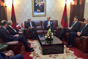 Philippe FOLLIOT aux côtés de Monsieur Claude BARTOLONE, Président de l'Assemblée nationale, et de Monsieur Rachid TALBI EL ALAMI, Président de la Chambre des Représentants du Royaume du Maroc