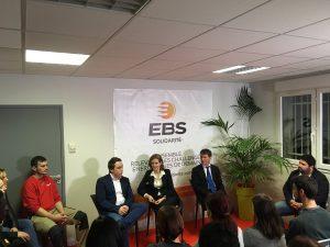 Nathalie KOSCIUSKO-MORIZET et Philippe FOLLIOT avec les collaborateurs de l'entreprise EBS