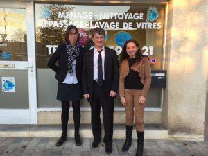 Philippe FOLLIOT lors de sa visite à l'entreprise Ménage Service Tarn