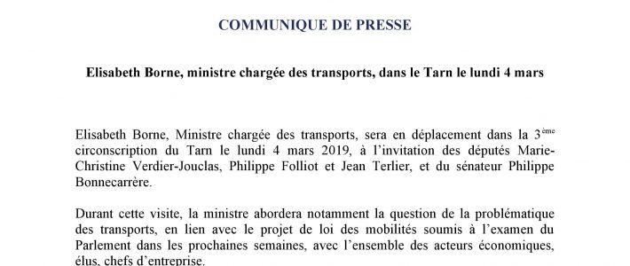 Communiqué de presse : la ministre des Transports Elisabeth BORNE dans le Tarn