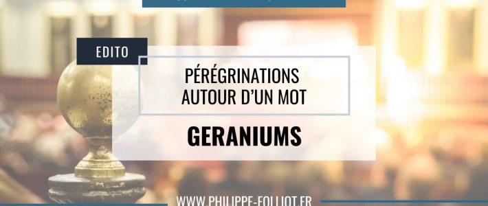 Pérégrinations autour d'un mot : GÉRANIUMS
