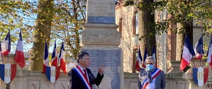 Le sénateur Philippe Folliot commémore la fin de la Première Guerre mondiale dans le Carmausin