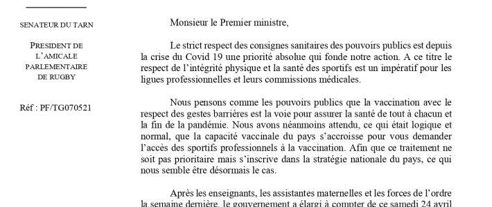 Philippe Folliot et 40 cosignataires demandent au Premier ministre la vaccination des rugbymen