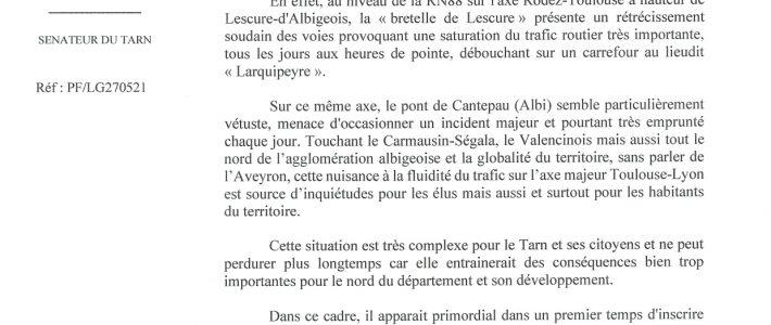 Philippe Folliot alerte l'Etat sur la situation complexe de la RN88, dans le nord du Tarn