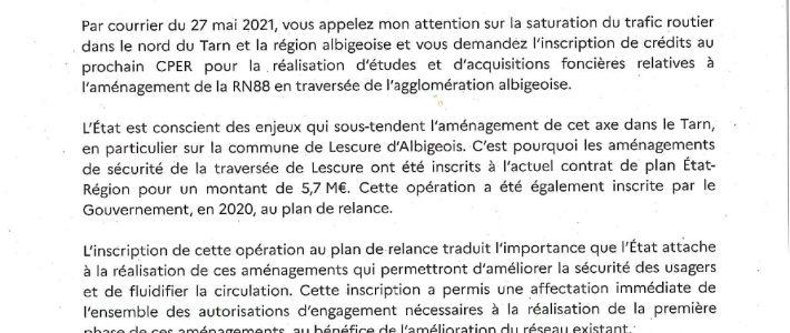 Aménagement de la RN88 : le préfet de Région répond à Philippe Folliot